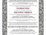 SOLEMNE TRIDUO A NUESTRA MADRE Y SEÑORA DEL PATROCINIO